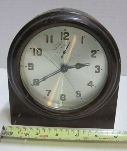 1914 Patent Ansonia Wind-Up Alarm Clock Wooden Case Mantel Painted Number PARTS