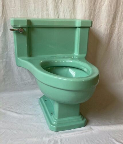 Vtg Mid Century Ceramic Deco Low Boy Toilet Jadeite Ming Green Standard 628-20E