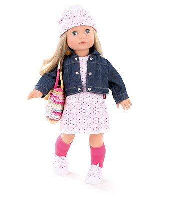 Götz Stehpuppe Puppe Jessica 46cm blonde Haare Schlafaugen blau Geschenk 1490366