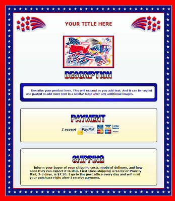 AUCTION TEMPLATE Patriotic Border Design Red White Blue - FREE Shipping - $2.49