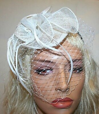 White Fascinator with Veil and Feathers, Headband, Wedding and Prom Accessories