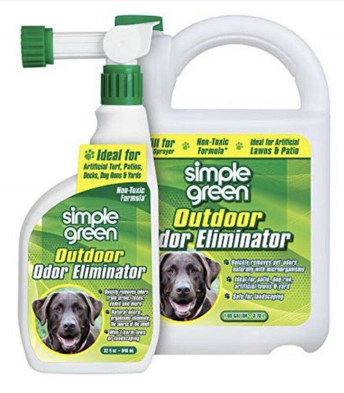 SIMPLE GREEN Outdoor Odor Eliminator for Patios Pets Dogs 32oz Hose Sprayer+Gall