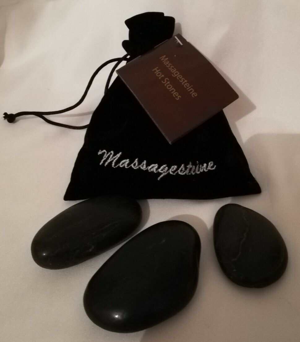 Massagesteine 9 Stück im Beutel Massage Basalt Hot Stones Neu