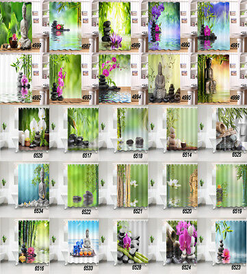 Spa Shower Curtain Asian Zen Massage Stones 100% Polyester Fabric 71 Inches (Spa Fabric Shower)