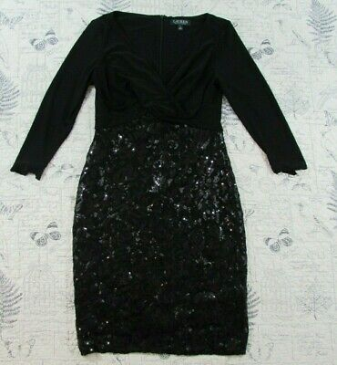 Lauren Ralph Lauren Black Sequin Criss Cross Dress women's size 6