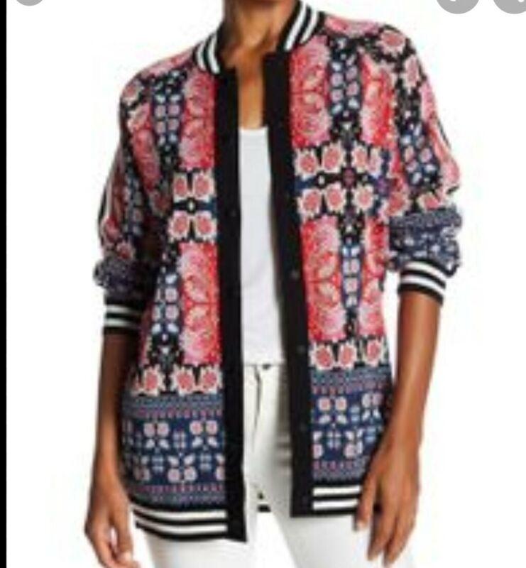 Anna Sui James Coviello Beautiful Vibrant Intarsia Long Jacquard Cardigan M-L