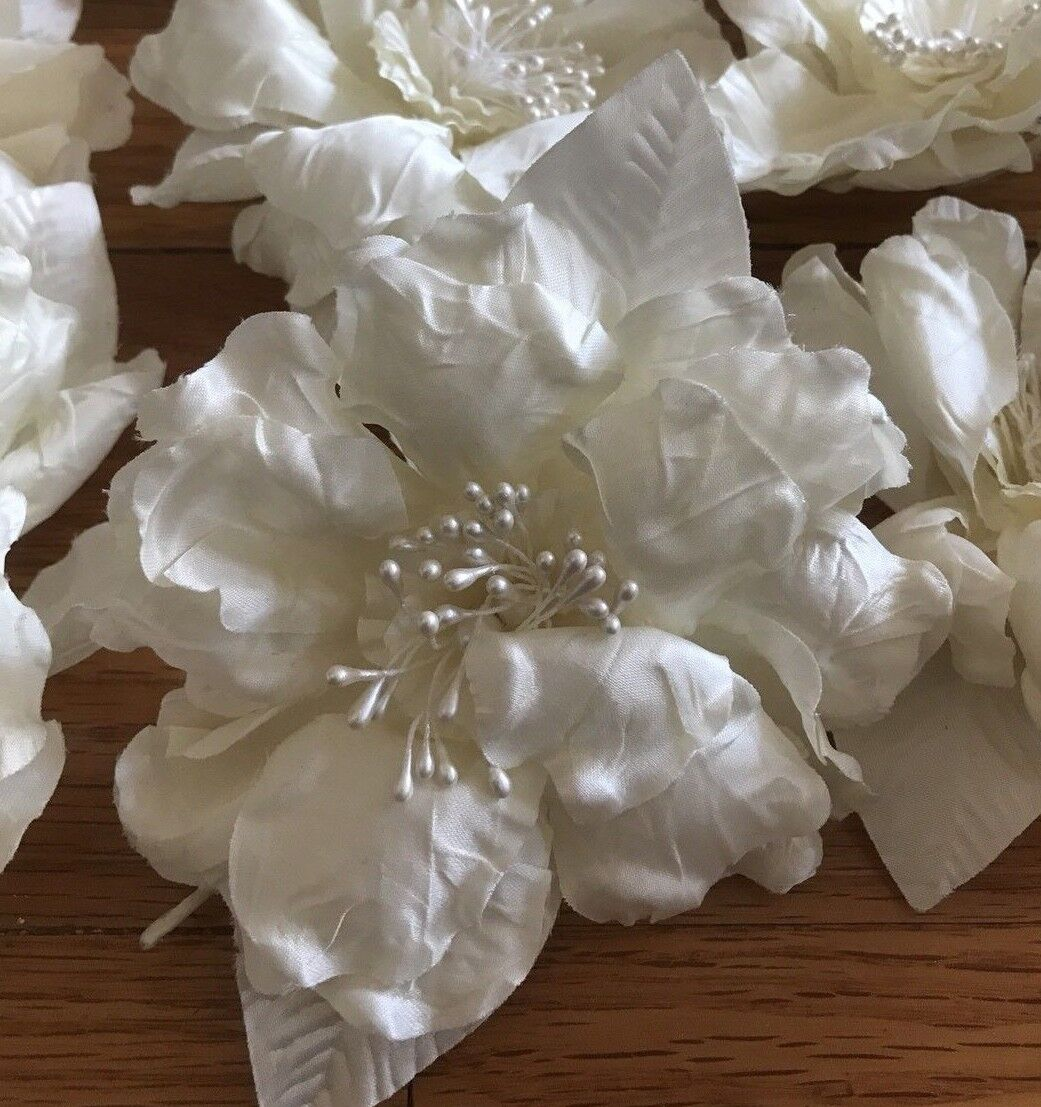 1 Large 4 White Silk Peonies Flower W/Pearl Stamens Bridal - 24 Available  - $8.00