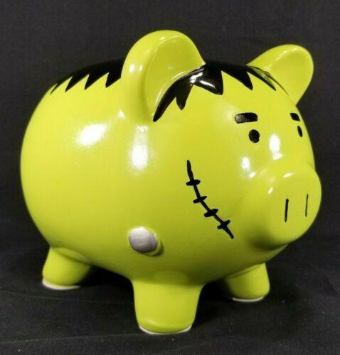 "Ceramic Halloween Frankenstein Pig Piggy Bank w/Padded Feet, Large 8""x6""x6"""