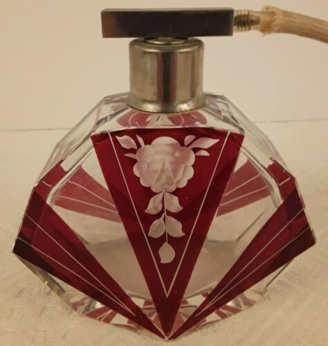 Vintage Art Deco Cut Glass Roses Crystal Perfume Bottle Spray Atomizer Ruby
