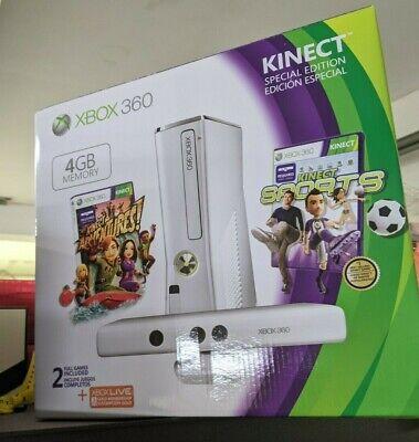 Microsoft Xbox 360 Special Edition Kinect Sports 4GB White Console 2 Games BNIB!