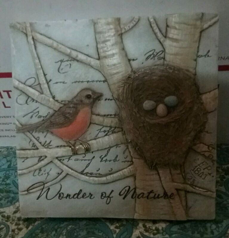 """tii collections """"wonder of nature"""" sm resin bird/nest plaque handcrafted robin"""