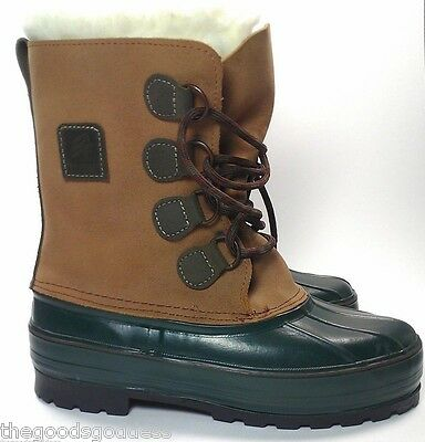 LaCrosse Mens Leather Boots Size 7 US Tan Green Hunting Snow Duck Wool Liners