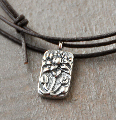 Tiny Lotus 925 Sterling Silver Pendant Necklace/Bracelet , Leather, adjustable 925 Sterling Silver Leather