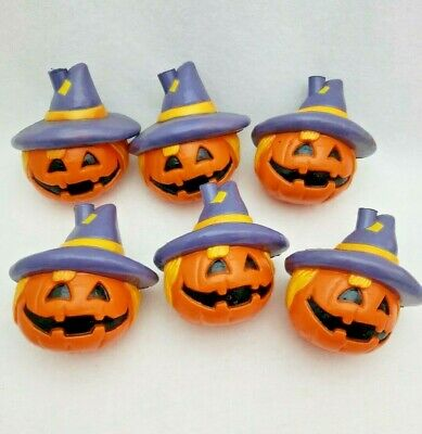 6 Blow Mold Halloween String Light Covers Scarecrow Jack O Lantern Purple Hat
