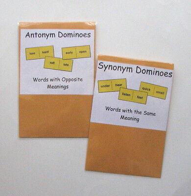 2 Teacher Created Literacy Centers Resource Games Synonym & Antonym Dominoes (Game Synonym)