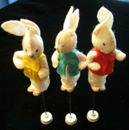 3 EARLY Vintage US Zone GERMANY Hand Made FELT EASTER Bunny RABBIT PUPPETS