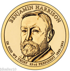 2012 P&D BU BENJAMIN HARRISON 2 COIN PRESIDENTIAL DOLLAR SET
