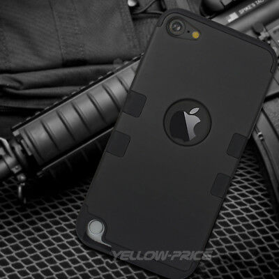 For iPod Touch 5th & 6th Gen - HYBRID HIGH IMPACT RUGGED ARMOR SKIN CASE BLACK Black Impact Skin Case