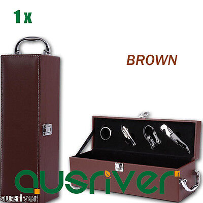 New Premium PU Leather Wine Gift Box Accessory Kit Velvet Lining Single Brown