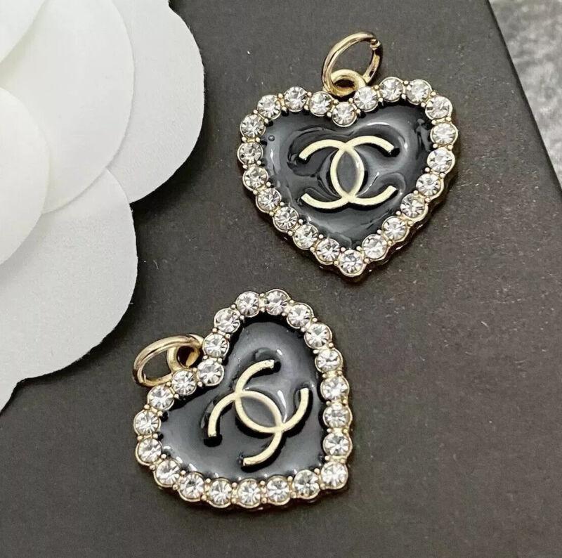 Set Of 2 Stamped CHANEL Rhinestone Heart Enamel Gold Metal Zipper Pull 22mm
