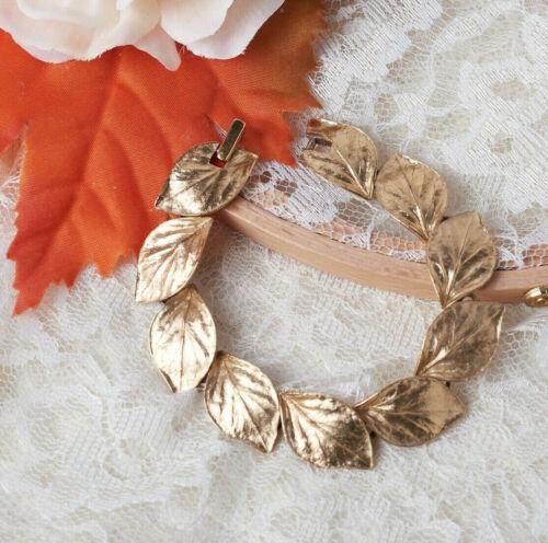 "Vintage Crown Trifari Veined Leaf 7"" Panel Gold Tone Bracelet"