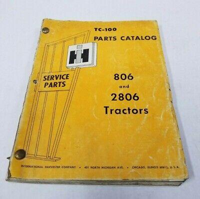 International Ih 806 2806 Tractor Tc-100 Parts Catalog