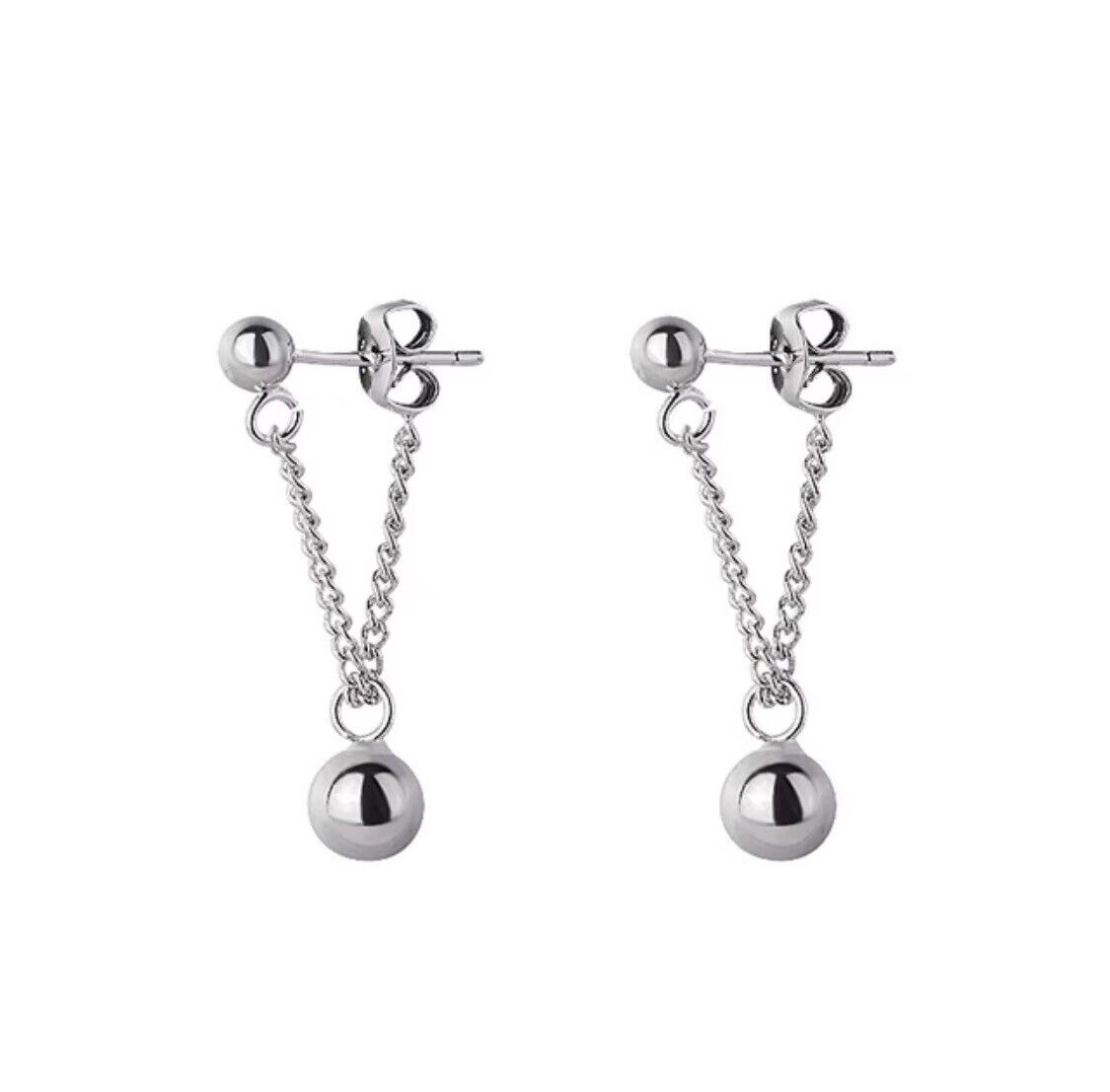 Jewellery - Mini Round Beads Drop Earrings Stud 925 Sterling Silver Women's Jewellery Gift.