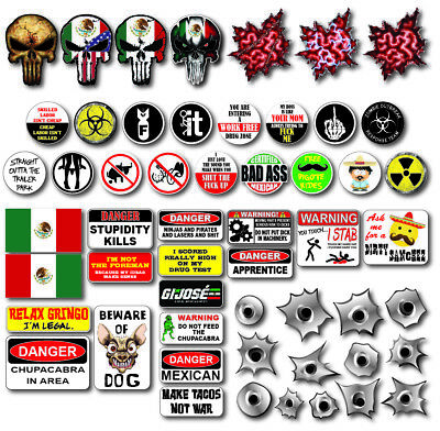 54 Funny Hard Hat Helmet Sticker Constructio Pack Mexico Mexican Edition Toolbox