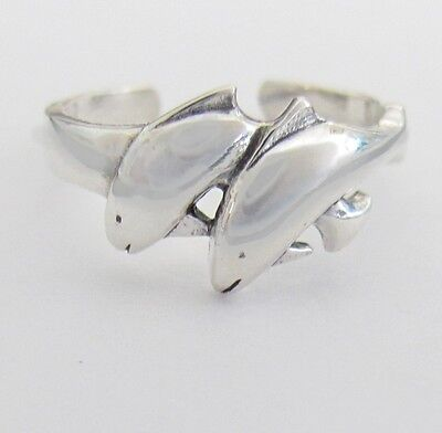 Sterling Silver 2 Dolphins adjustable toe ring
