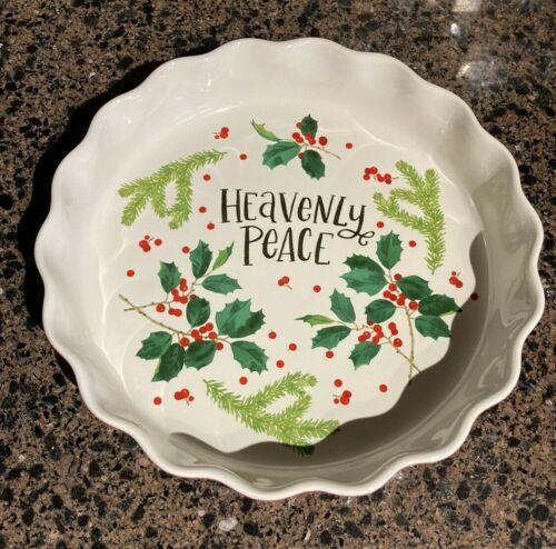 Mary & Martha Dayspring Christmas Pie Plate Decorative, Heavenly Peace