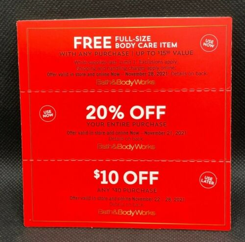 Bath & Body Works 20% OFF Entire Purchase (NOW) & (2) Coupons exp. 11/21/21