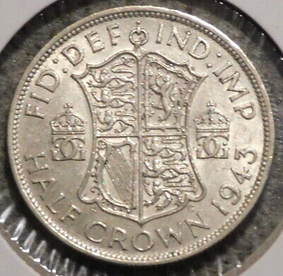 British Silver Half Crown - 1943 - King George VI - $1 Unlimited Shipping