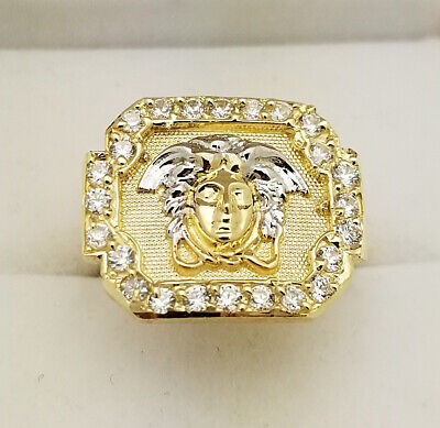 10K Yellow Gold Men's Versace Ring Medusa Face Pinky Ring Size 7