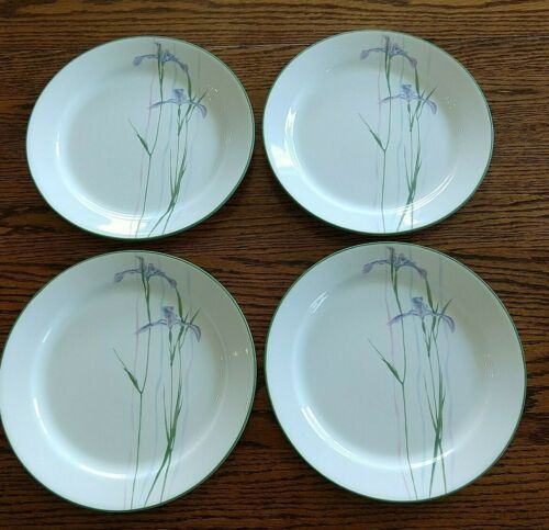 Corelle Vitrelle Shadow Iris Flower Plates Dinner 10 1/4 inch Lot of 4 Green Rim