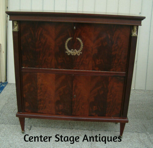 61221   Mahogany Neo Classical Drop Front Bar Liquor Cabinet Desk