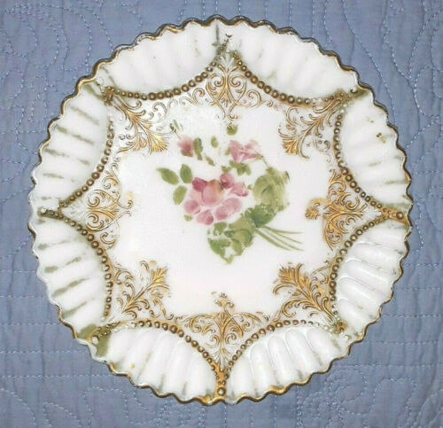 Vintage Victorian Hand Painted Milk Glass Plate Gold and Flowers
