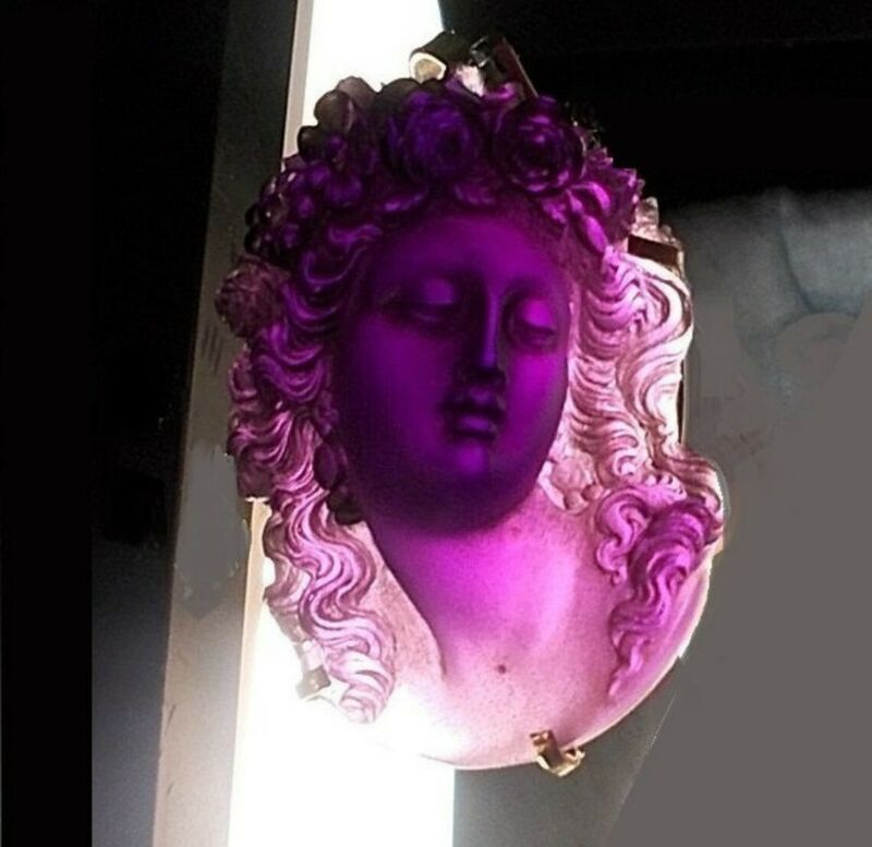 1 Large Antique Amethyst Glass Cameo Unbelievable Beauty! Curly Tendrils Flowers
