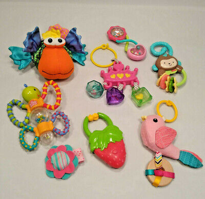 Lot of Baby Toys Developmental Teething Rattles Hanging Plush Infantino & Others