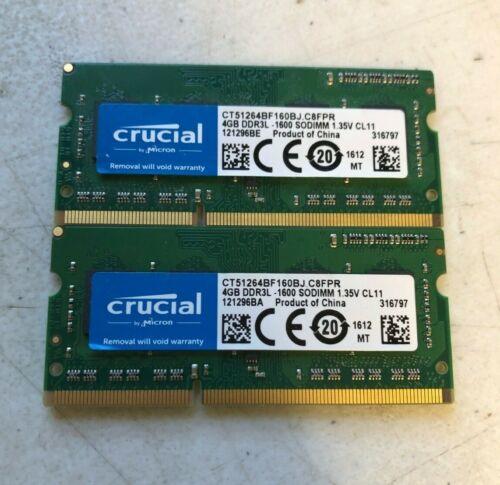 4GB DDR3L - 1600 SODIMM - Crucial - Lot of 2 - Laptop RAM