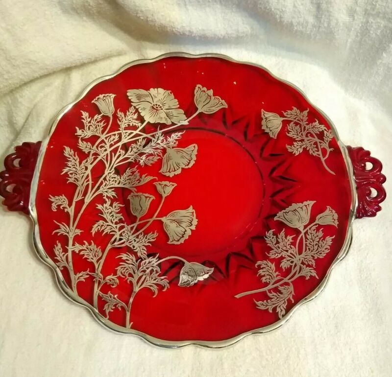 """Vintage Sterling Embossed Ruby Red Glass Silver City 11"""" Plate"""
