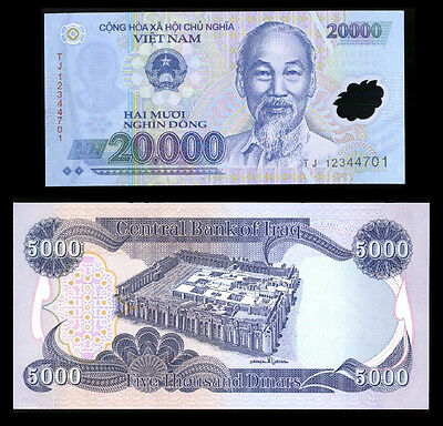 New Iraqi Dinar 5,000    * Plus A Free 20,000 Vietnam Dong With Dinar Purchase *