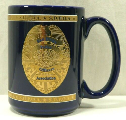 San Diego Police Officers Association Coffee Cup SDPOA Blue Gold