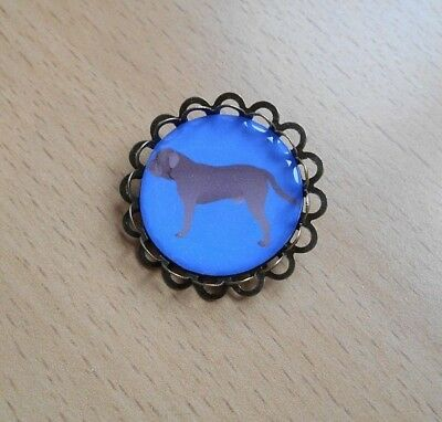 Handmade Dogue de Bordeaux Dog Brooch Badge Puppy Bronze Tone Blue Pin