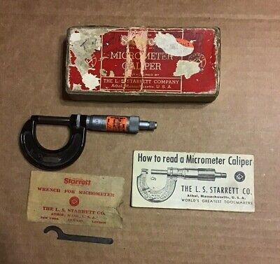 Vintage Starrett No.436-1 Micrometer Caliper Machinist Tool Box Instructions