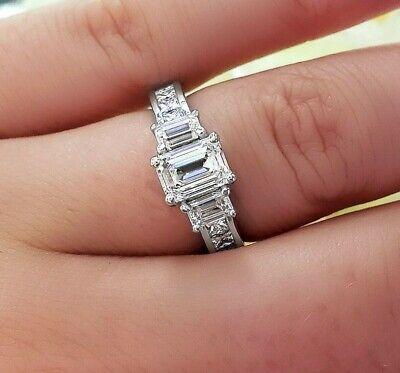 3.00 Ctw 3 Stone Emerald Cut Engagement Diamond Ring F, VVS1 GIA 14K White Gold 1