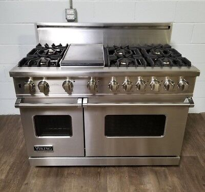 """Viking 48"""" Range Stove VGSC548-6GSS Gas 6 Burners + Griddle In Stainless Steel"""