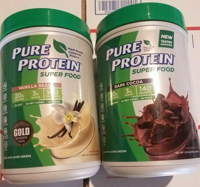 ( 2 ) Pure Protein Super Food Dark Cocoa or Vanilla Bean 1.51 LB ea 2 Large Tubs