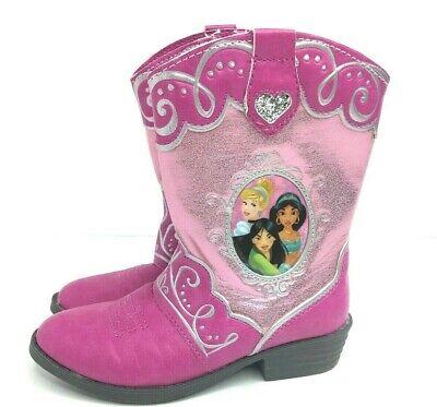 Girls Toddler Disney Princess Jasmine Mulan Cinderella Cowboy Boots  Pink New  7](Cinderella Shoes Toddler)