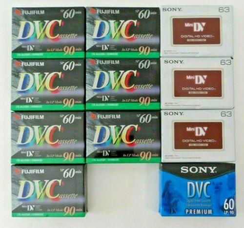 NEW SEALED - Lot of 11 Mini DV Camcorder Cassette Tapes (Fujifilm & Sony) DVC