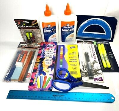 Lot Of Art Office School Supplies Drawing Pastels Highlighter Glue Graphite